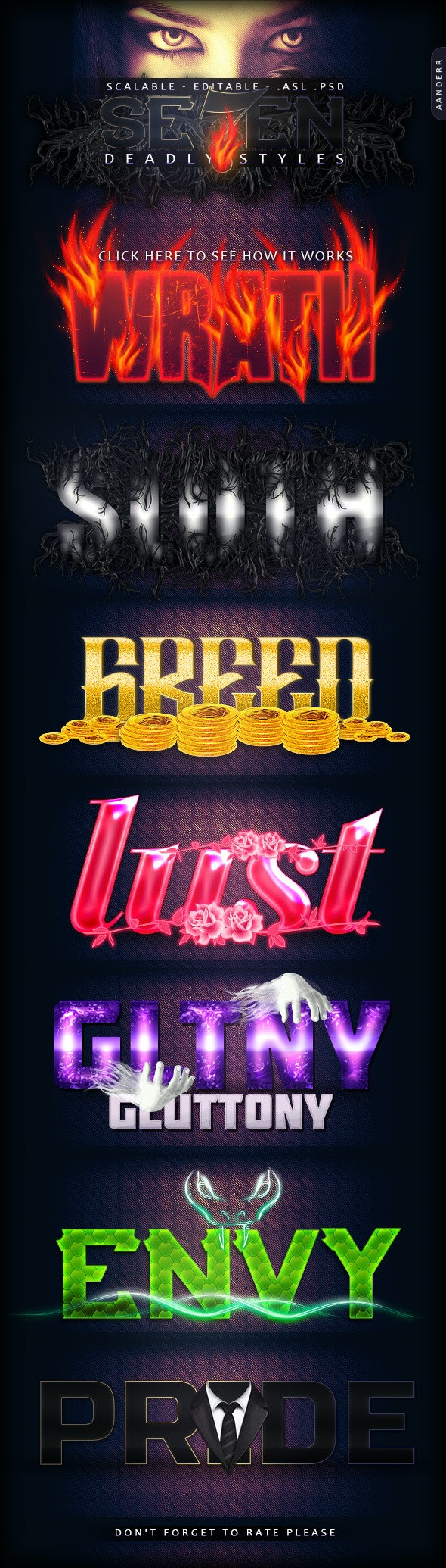 Seven Deadly Styles - Text Effects Styles