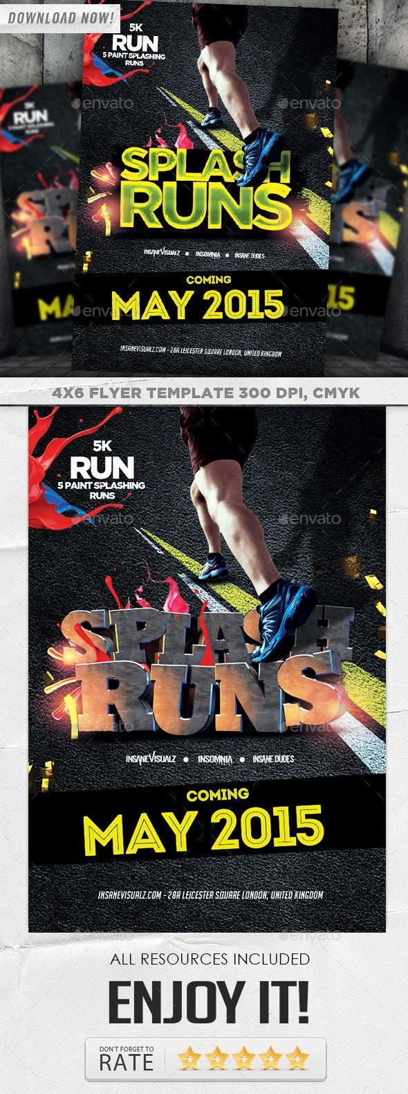 Splash Runs Flyer Template - Flyers Print Templates