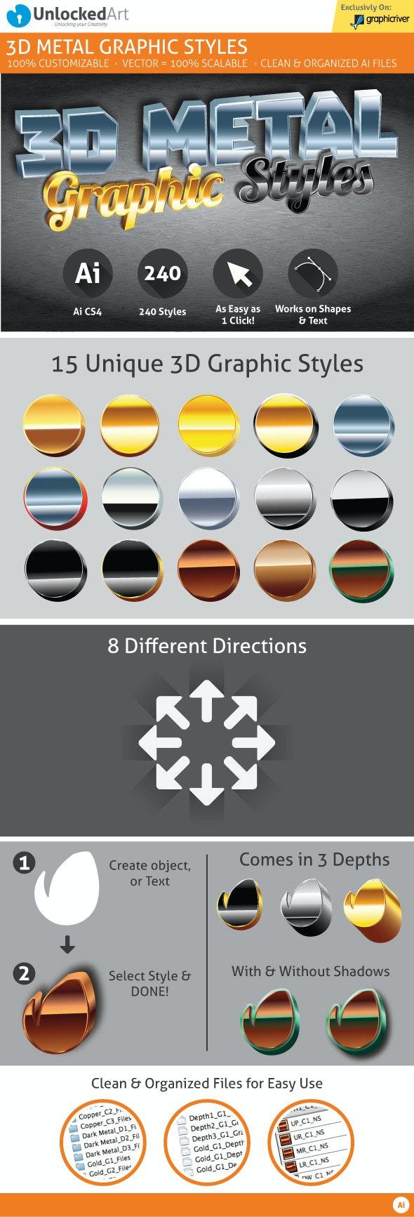 3D Metal Graphic Styles - Styles Illustrator