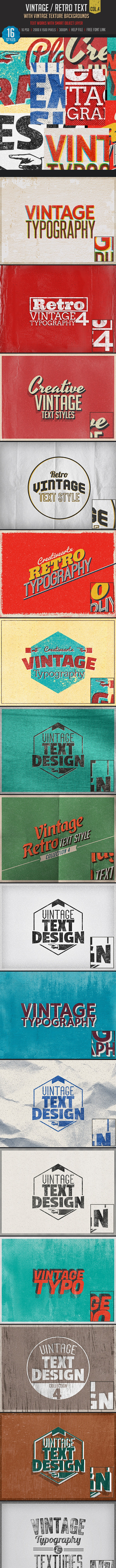 Vintage/Retro Text Col 4 - Text Effects Actions