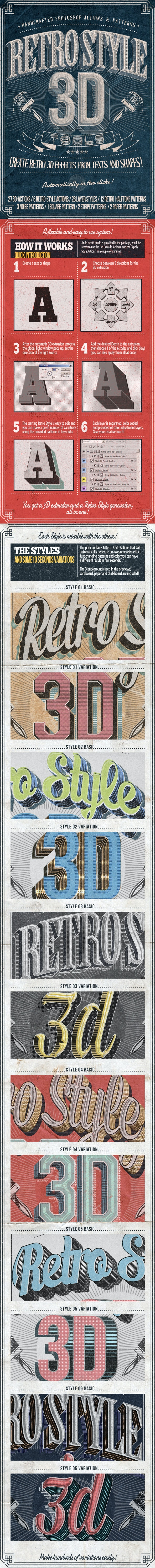Retro Style 3D Tools - Photoshop Actions - Photoshop Add-ons