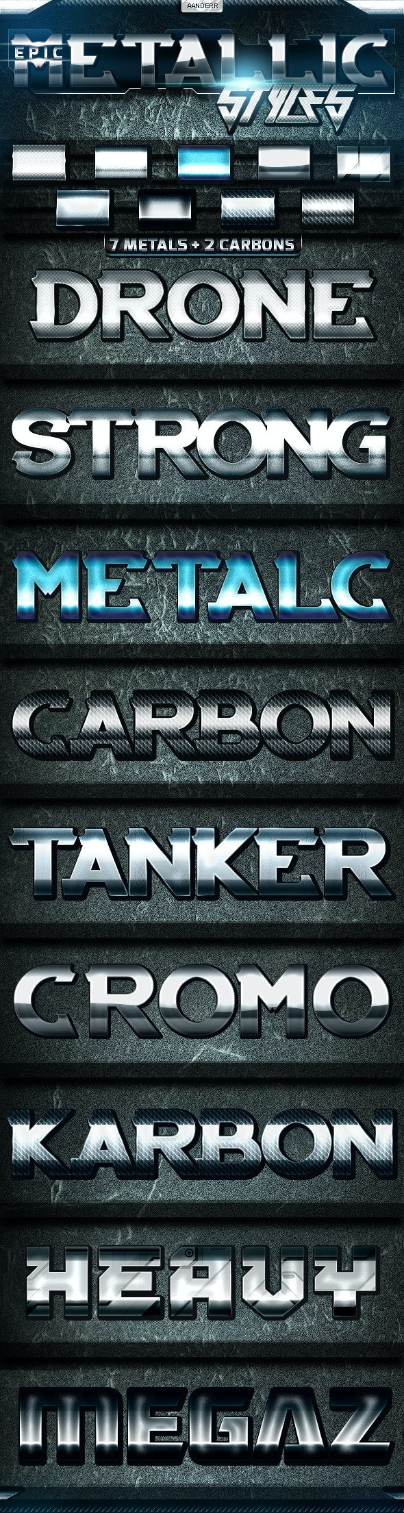 Epic Metallic Styles - Text Effects Styles
