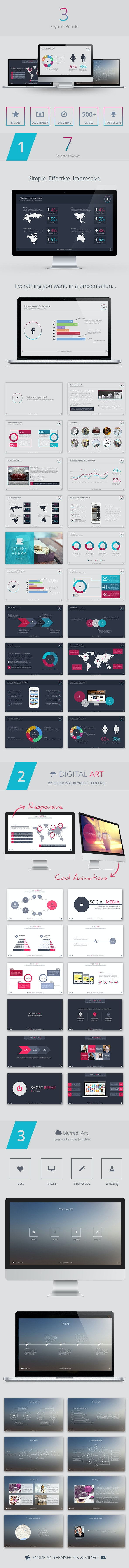 3 Keynote Bundle - Creative Keynote Templates