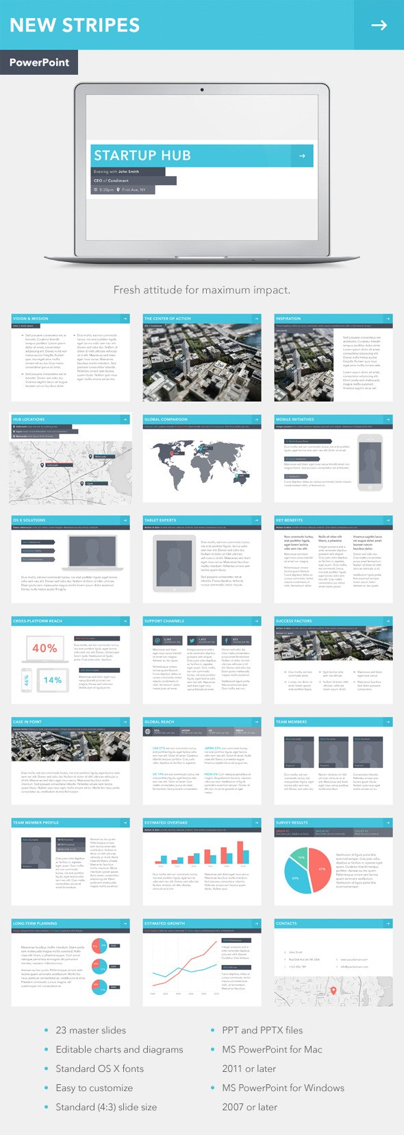 New Stripes PowerPoint Template - PowerPoint Templates Presentation Templates