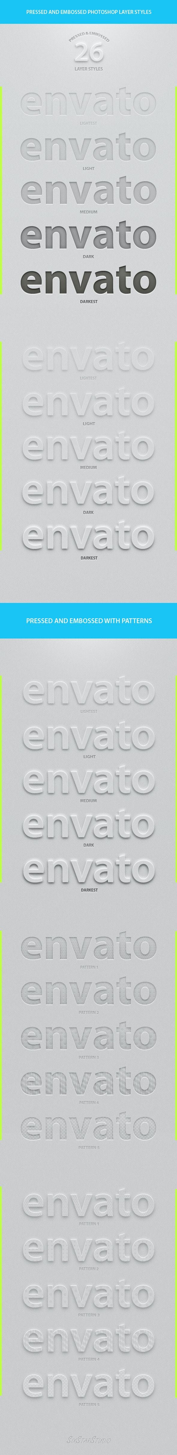 26 Pressed & Embossed Styles - Styles Photoshop