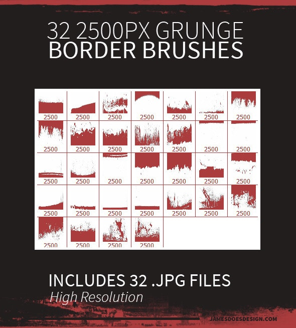 32 Grunge Border Brushes - Grunge Brushes