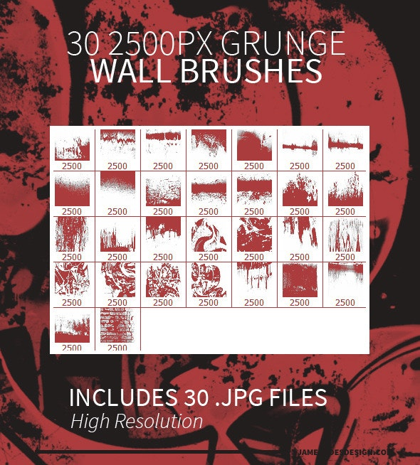 30 Grunge Wall Photoshop Brushes - Grunge Brushes