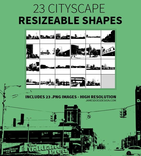 23 Cityscape Resizeable Shapes - Miscellaneous Shapes