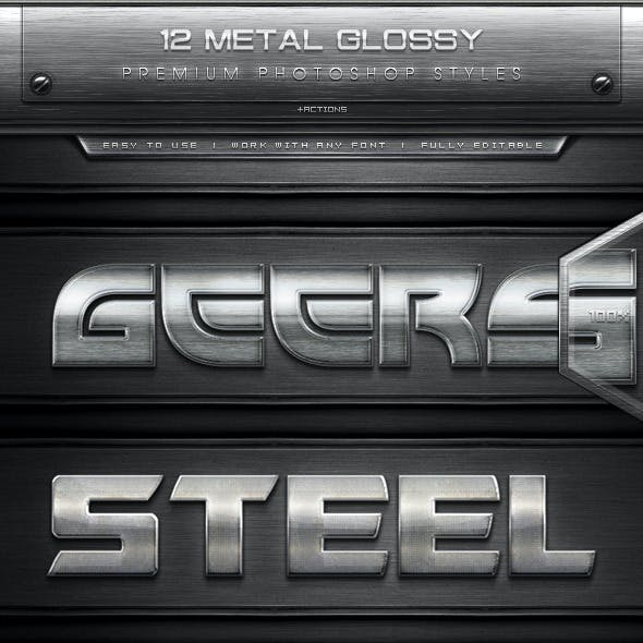12 Metal Glossy Text Effect Styles + Actions