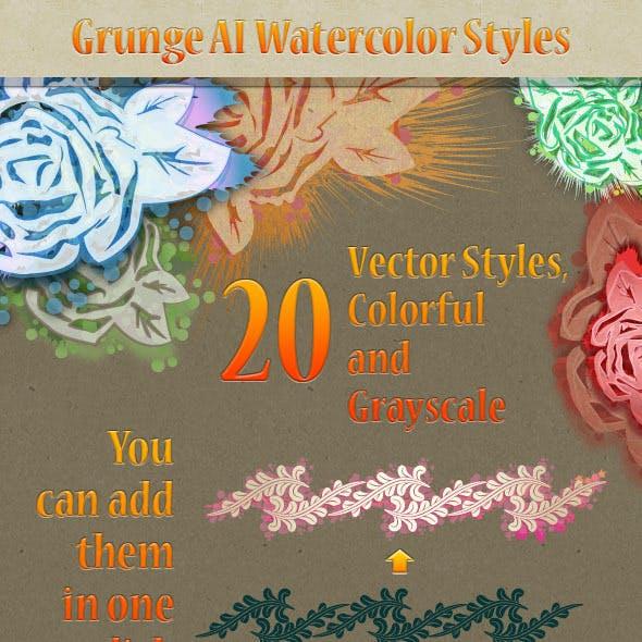 20 Grunge Watercolor Illustrator Styles