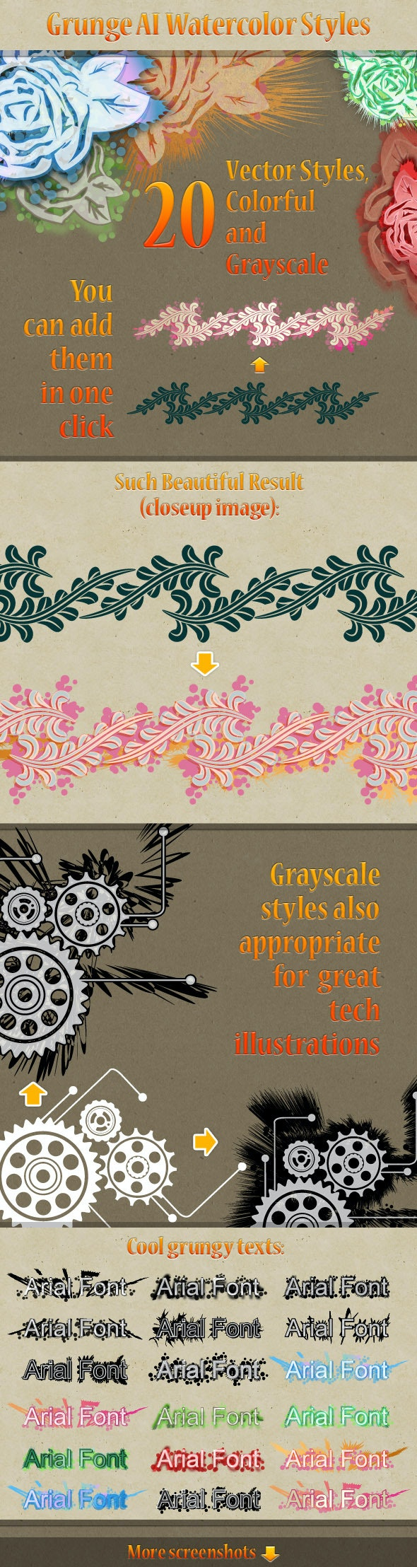 20 Grunge Watercolor Illustrator Styles - Artistic Textures / Fills / Patterns