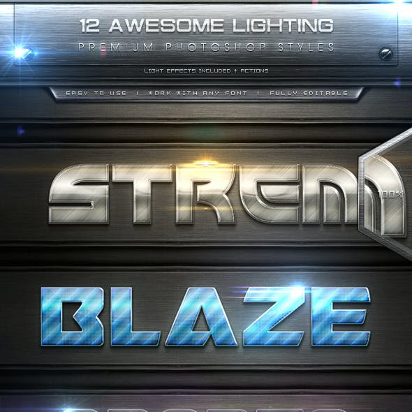 12 Lighting Text Effect Styles + Actions