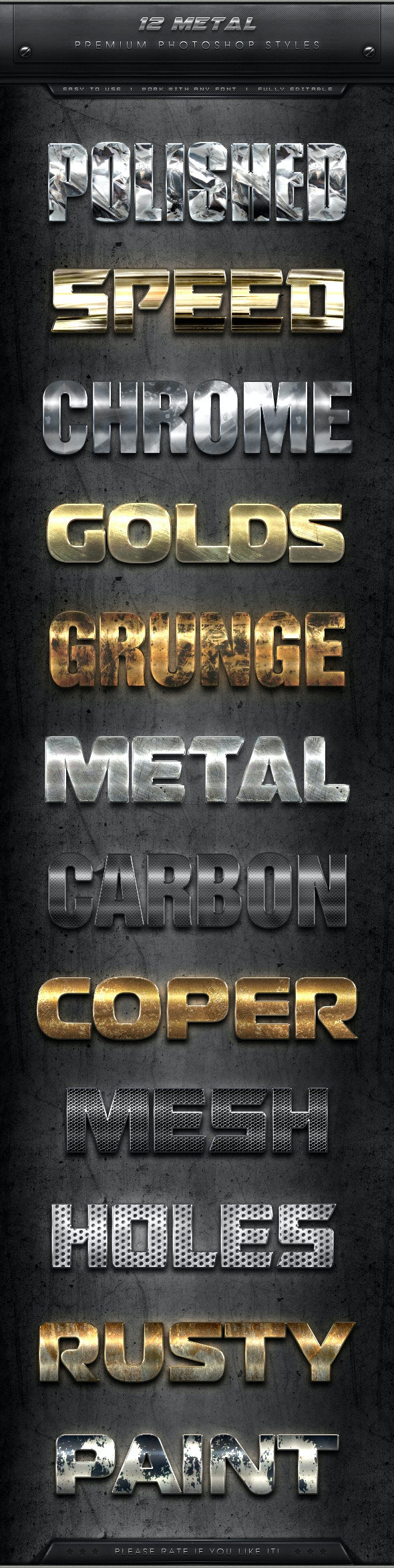 12 Premium Metal Styles - Text Effects Styles