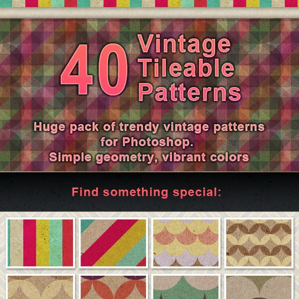 40 Vintage Paper Tileable Patterns Set