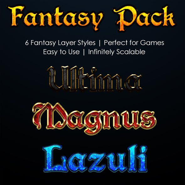 Fantasy Text Layer Style Pack