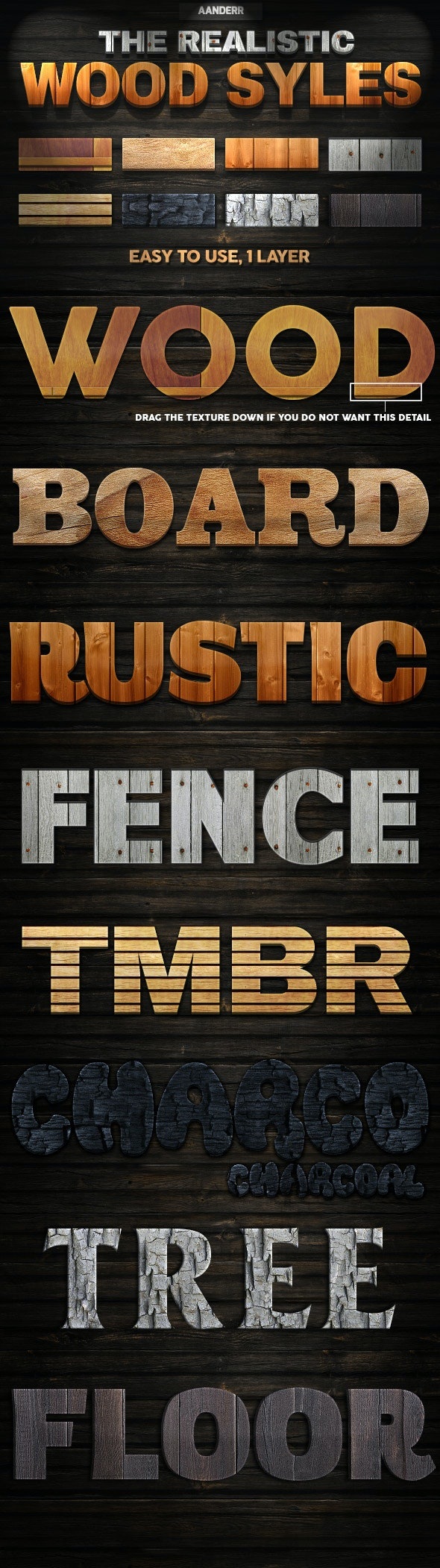 The Realistic Wood Styles - Text Effects Styles