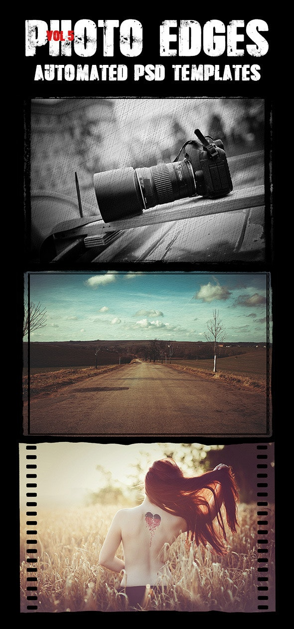 Cool Photo Edges Automated PSD Templates Vol 5 - Actions Photoshop