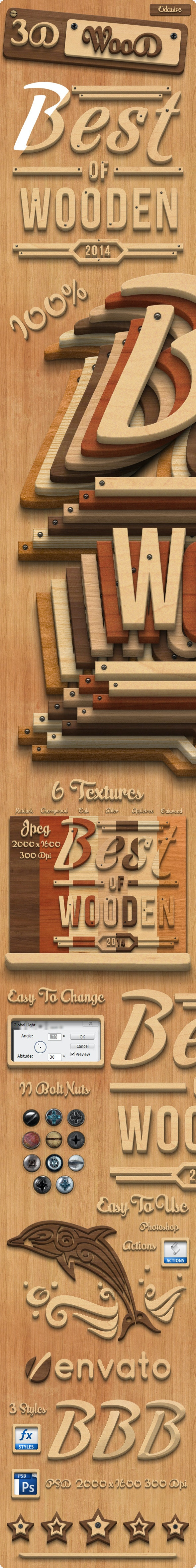 3D Wood Creation Photoshop Actions - Actions Photoshop