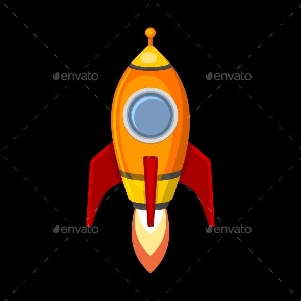 Comic Rocket Ship in Cartoon Style - Travel Conceptual