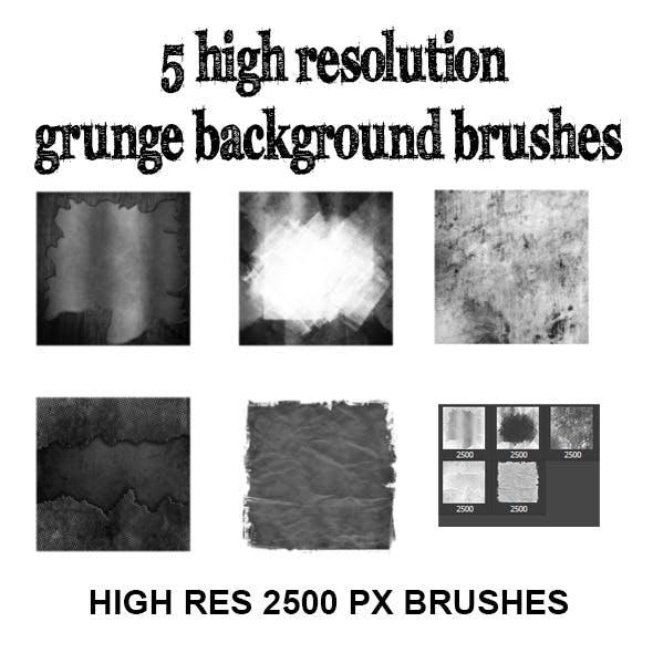 High res grunge background brush set