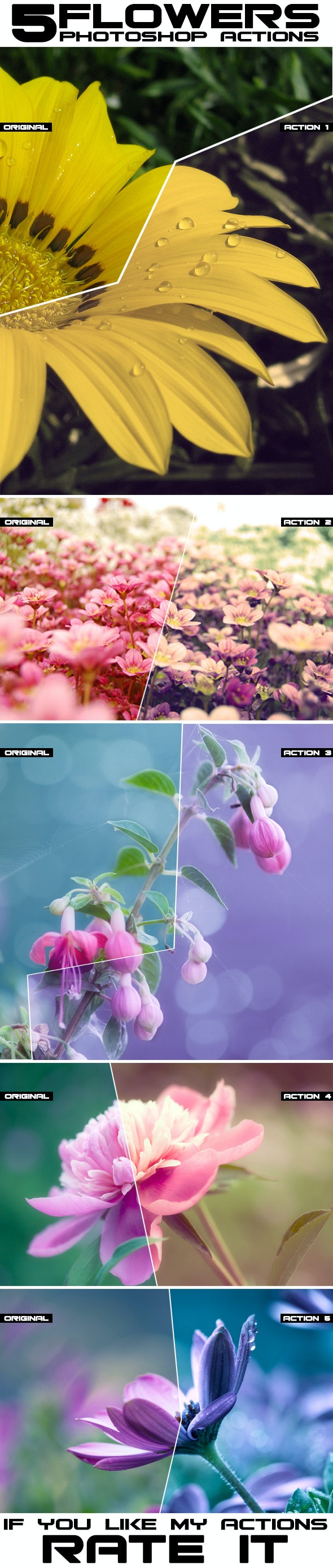 5 Flower Photoshop Actions - Photo Effects Actions