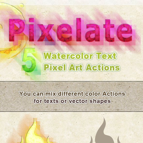 Watercolor Text Pixelate Effect