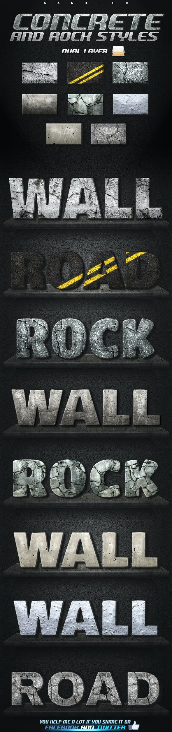 Concrete and Rock Styles - Text Effects Styles