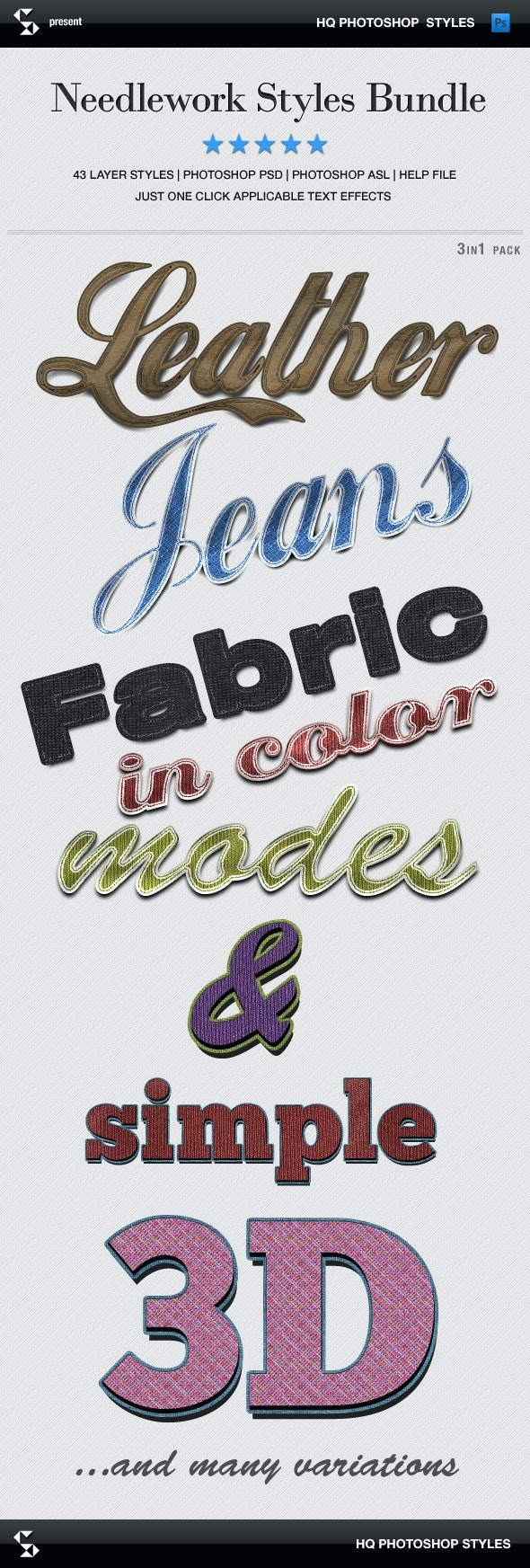 Needlework Styles Bundle - Denim, Leather, Fabric - Text Effects Styles