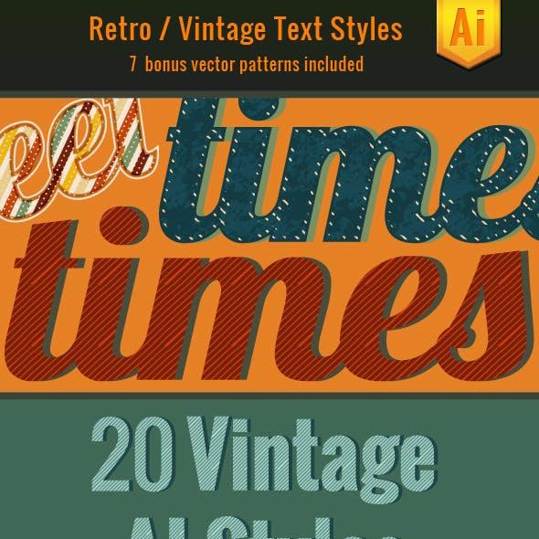 20 Vintage Text Illustrator Styles