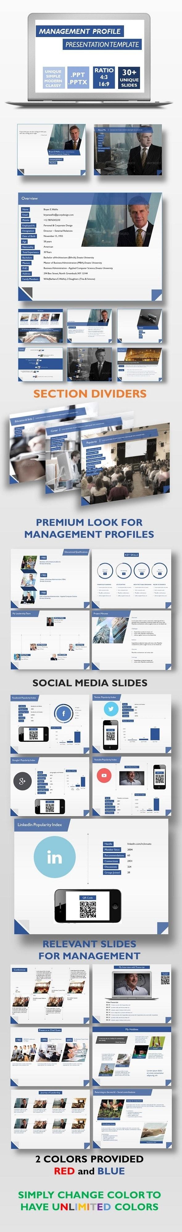 Management Profile Presentation Template - Business PowerPoint Templates