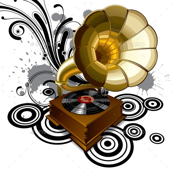 Background with a Gramophone - Man-made Objects Objects