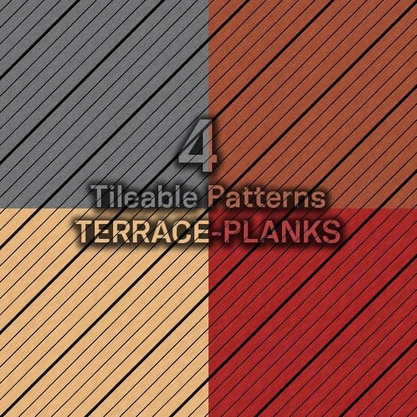 4 Tileable Patterns Diagonal-Terrace-Planks