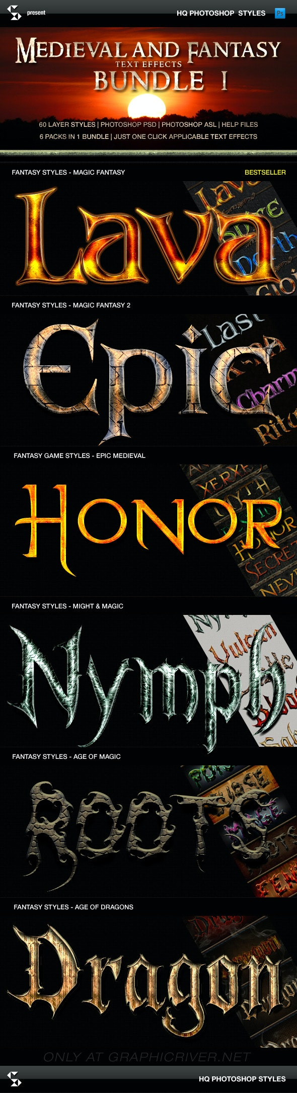 Fantasy Styles Bundle - Magic Fantasy Collection - Text Effects Styles
