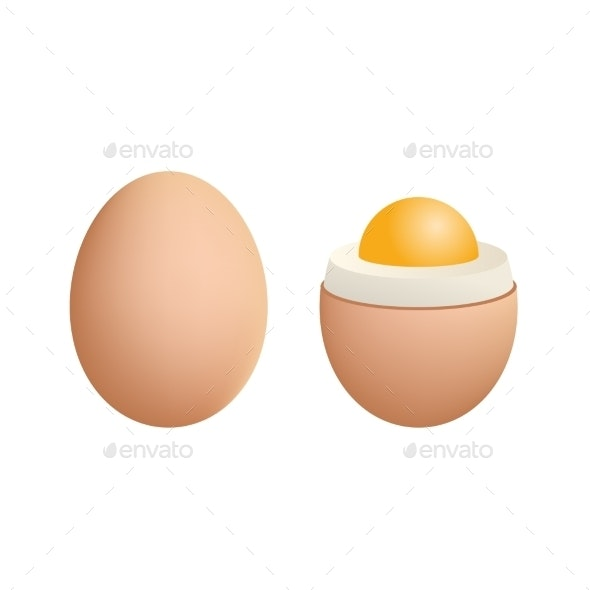 Broken Boiled Egg Isolated on White Background - Food Objects