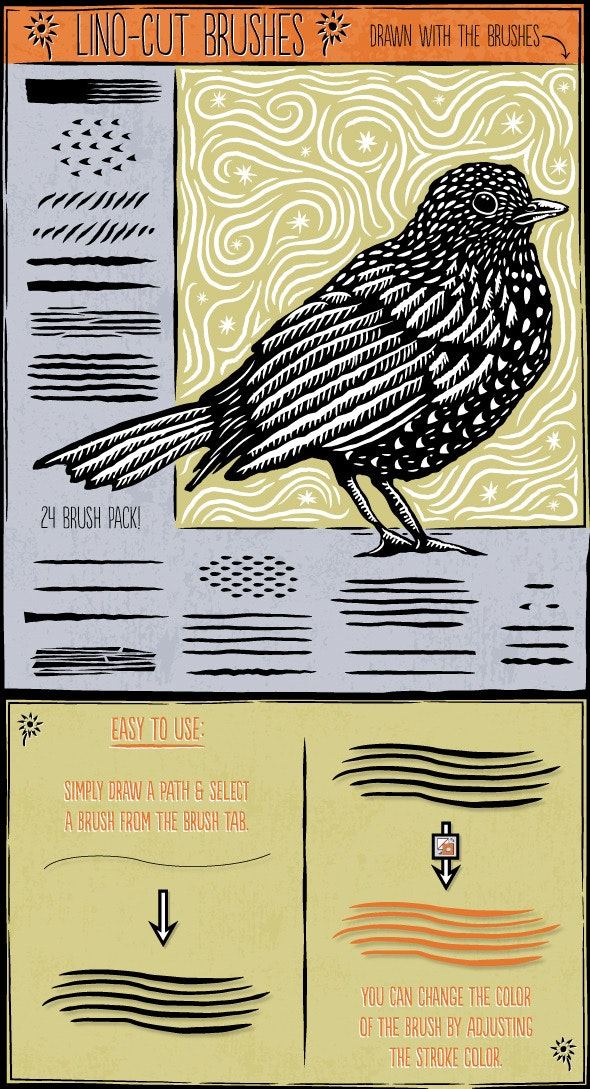 Lino Cut Brushes - Brushes Illustrator