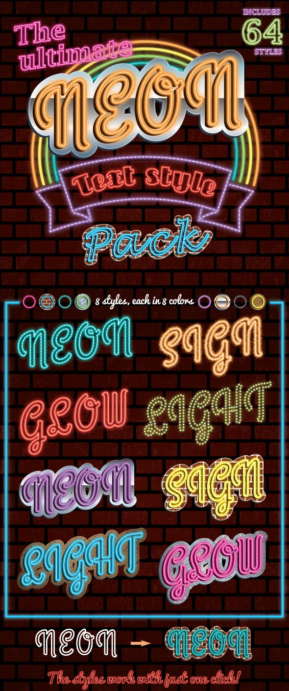 The Ultimate Neon Text Styles Pack - Styles Illustrator