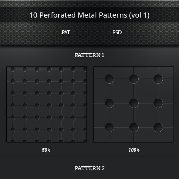 10 Perforated Metal Tileable Patterns (vol 1)
