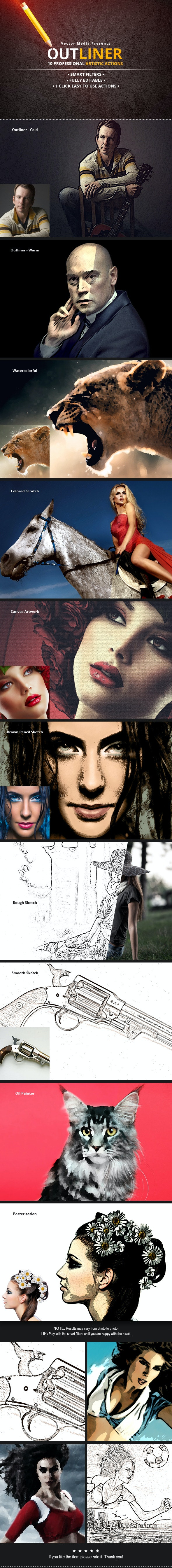Outliner - Photoshop Actions - Photo Effects Actions