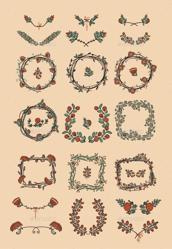 Big Set of Floral Graphic Design Elements - Flourishes / Swirls Decorative