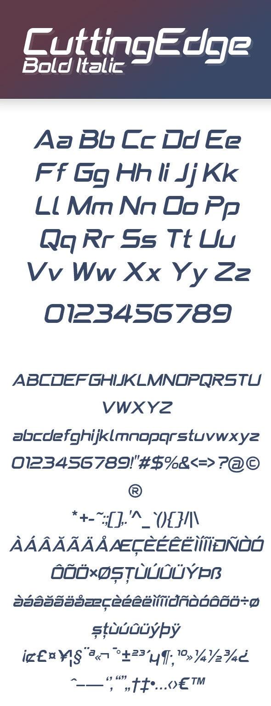 CuttingEdge Bold Italic - Condensed Sans-Serif