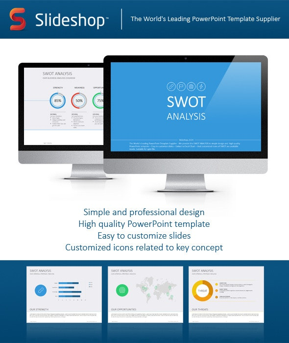 SWOT Analysis Flat - Business PowerPoint Templates