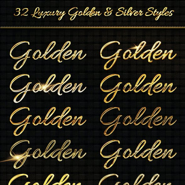 BUNDLE - 32  Luxury Golden & Silver  Text Sty