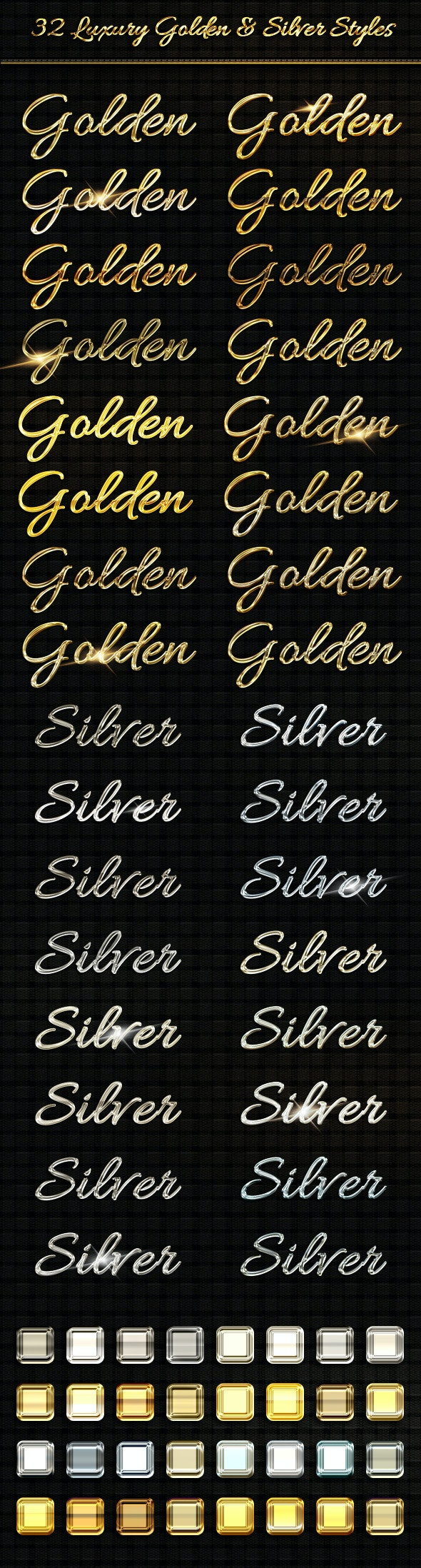 BUNDLE - 32  Luxury Golden & Silver  Text Sty - Text Effects Styles