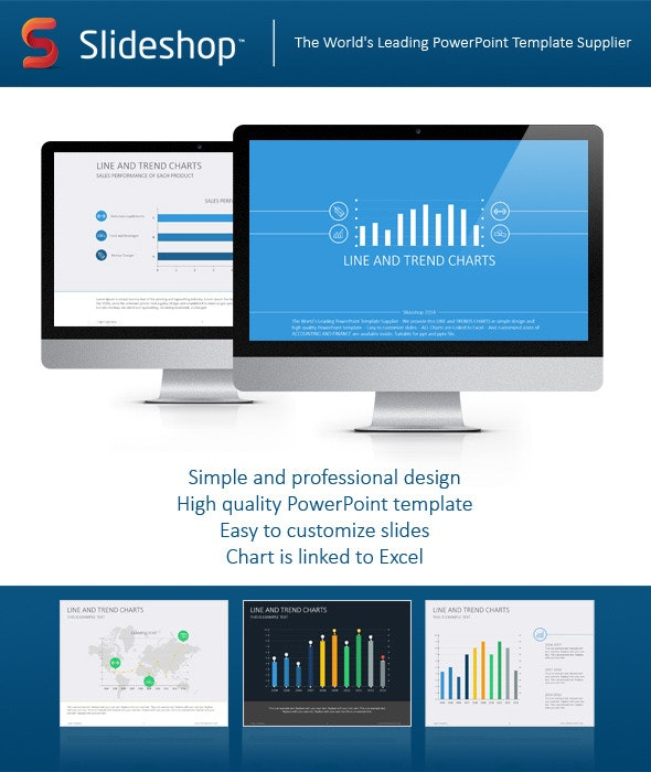 Line and Trends Chart Flat - Finance PowerPoint Templates