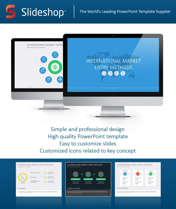 International Market Entry Methods Flat - Business PowerPoint Templates