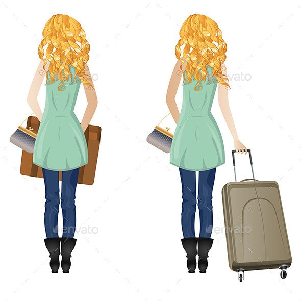 Blonde Woman with Suitcase - People Characters