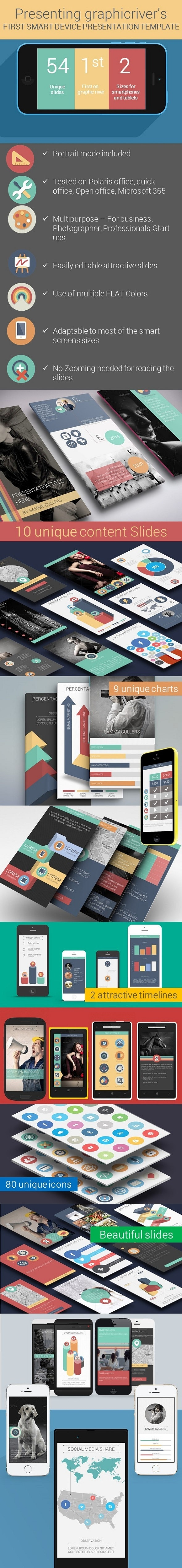 Flat Smart Device Presentation Template - Miscellaneous PowerPoint Templates
