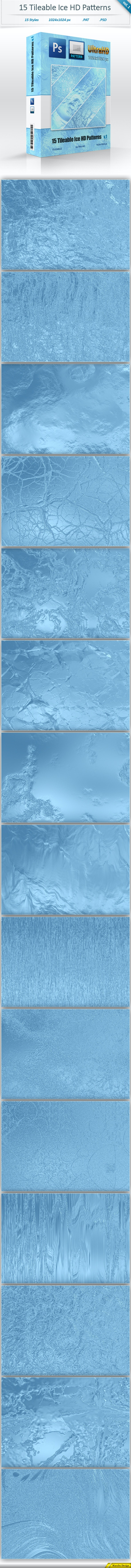 Ice Tileable Pattern Backgrounds (vol 1) - Textures / Fills / Patterns Photoshop