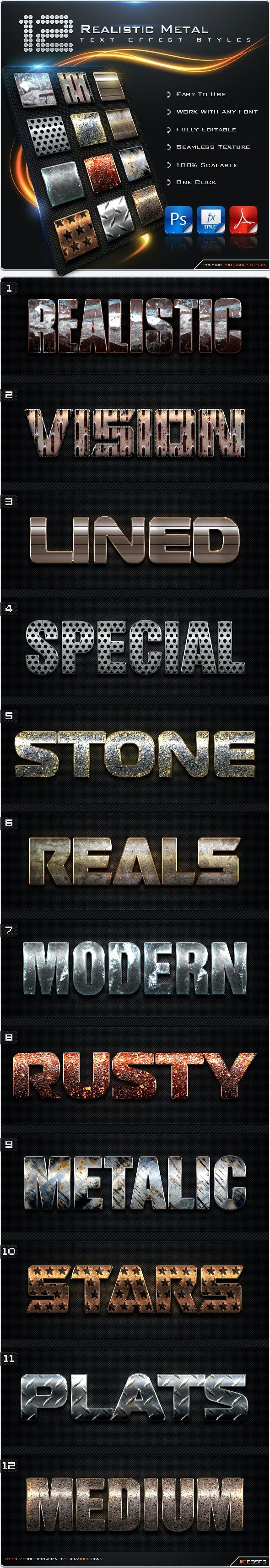 12 Realistic Metal Styles - Text Effects Styles