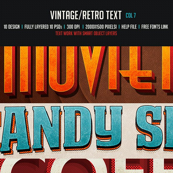 Vintage/Retro Text Col 7